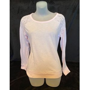 VS PINK Pink Long sleeve T-Shirt with Lace Detail